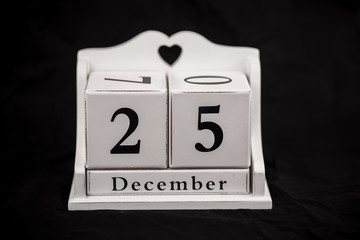 Calendar cubes december, twenty fifth, 25, 25th