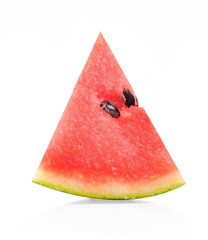 Watermelon slice on white background.