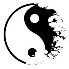 Silver yin yang symbol