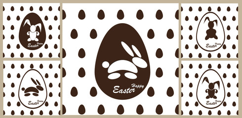 Pattern Easter Bunny in a chocolate egg.