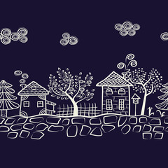 Night village landscape seamless pattern. Countryside background. Doodle vector illustration. Abstract houses and trees.