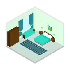 Vector isometric bedroom icon set.