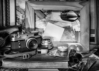 composition of vintage objects on the background of old photogra