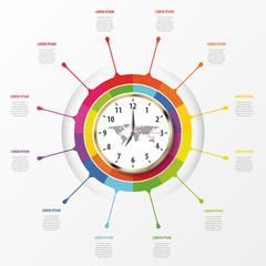 Modern work time management planning infographics