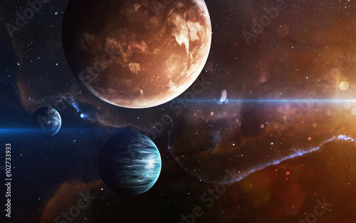 Fototapete Planets over the nebulae in space. This image elements furnished by NASA
