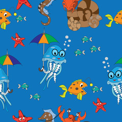 seamless pattern on the marine theme with children's drawings for the design