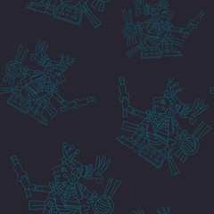 Seamless pattern with symbols from Aztec codices for your design