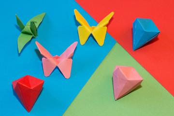 Origami, butterflies, bird  and diamonds