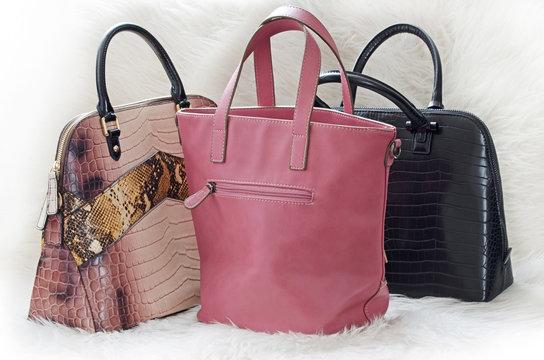 Women handbags. Designer stylish luxury leather purses on white background.