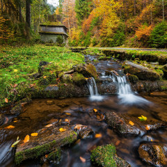 Carpathian Mountains. The mountain river in the autumn forest