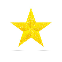 Single golden star shine on white background