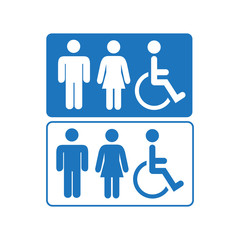Blue line and silhouette Man and Woman public access icons set