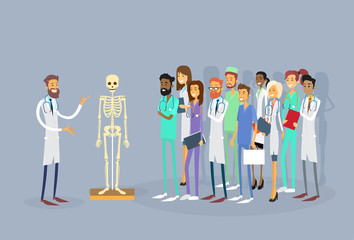 Medical Doctors Group People Intern Lecture Human Body Skeleton Study