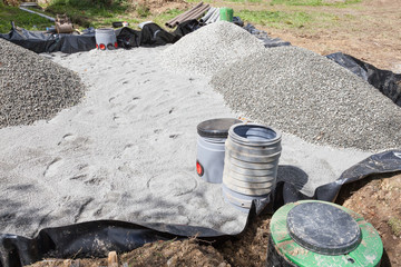 Installing a new  sand and gravel filter bed for a septic tank for effluent, sewage and wastewater disposal for a domestic household