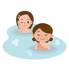 露天風呂と入浴着の女性