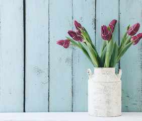 Tulips in a vintage pot