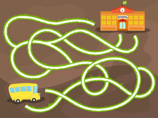 Vector maze game with school bus way to the school