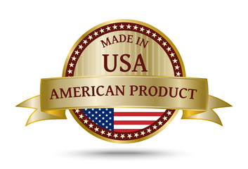 Made in The USA golden badge