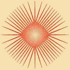 Sun Burst Design Stipple Effect