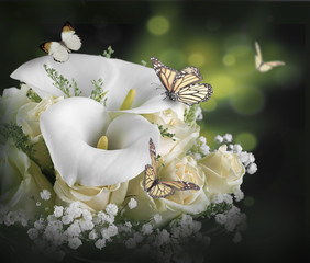 Wall Mural - Bouquet for the bride of yellow roses and white calla lilies,  butterfly.
