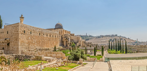 Panoramic view of the Solomon's temple remains and Al-Aqsa Mosque minaret in Jerusalem, is believed by Muslims to be the second mosque on earth after the Kaba.