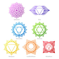 Colorful chakras symbols icons set.