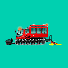 Red snowcat. Crawler bulldozer for clearing snow and seals. It is intended for transportation of people. Isolated. Green background.