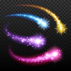 Light effect comets set vector illustration.