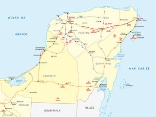 street map of Yucatan with the main maya ruins
