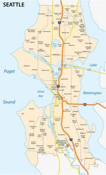 seattle road and neighborhood map