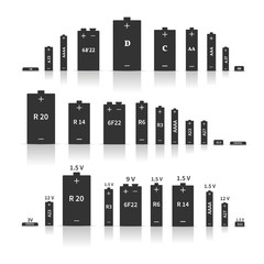Set of different batteries, vector illustration