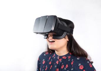Asian girl using VR glasses