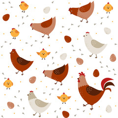 Vector seamless pattern with chickens, chickens and a rooster