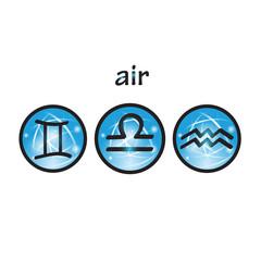Zodiac symbols air element, Libra, Gemini, Aquarius