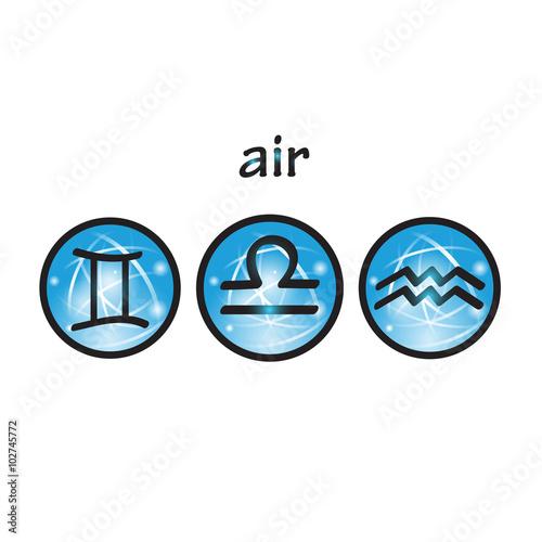 Zodiac Symbols Air Element Libra Gemini Aquarius Stock Image And