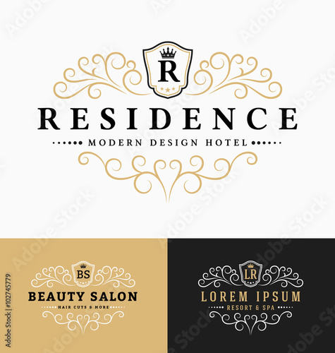 Luxurious royal logo vector re sizable design template for Actual beauty salon