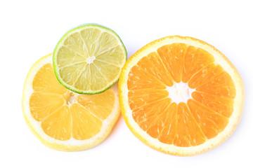 orange lemon lime isolated on white background