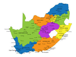 Colorful South Africa political map with clearly labeled, separated layers. Vector illustration.