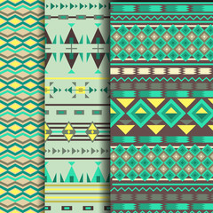 set of seamless ethnic pattern in green