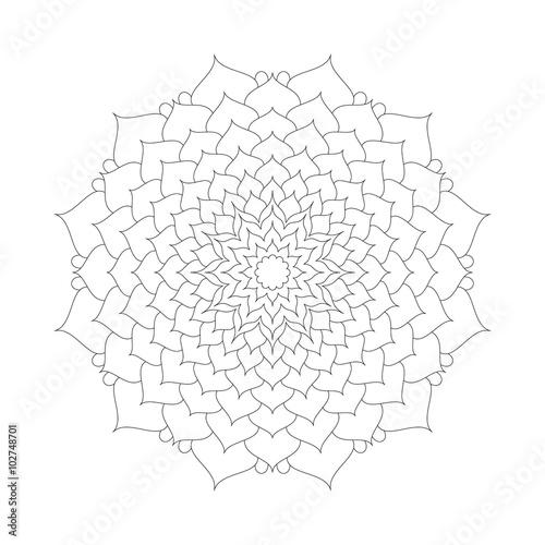 Vector Adult Coloring Book Page Circular Pattern Mandala Lotus Flower Black And White