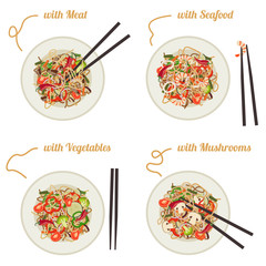 Noodles on plate.