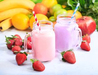 jars of fruit smoothie