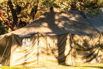 Green tent, camping, camping, woods