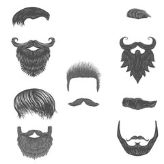Vector set of hairstyles. Vector beards