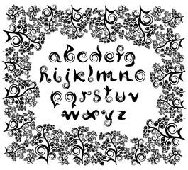 Декоративные курсивные строчные буквы латинского алфавита, состоящие из завитков  и каллиграфических штрихов