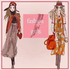 Fashion cartoon model girls