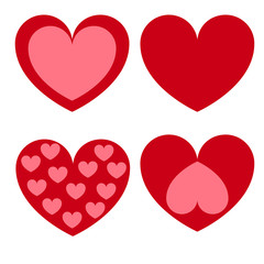 Set of romantic pink and red hearts for Valentine's day. Vector illustration