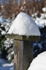 Schneehaube im Garten auf Zaunspfosten