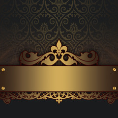 Decorative vintage background with gold ornament.