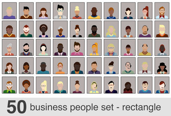 50 business people set - rectangle